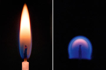 A candle on Earth and one in microgravity